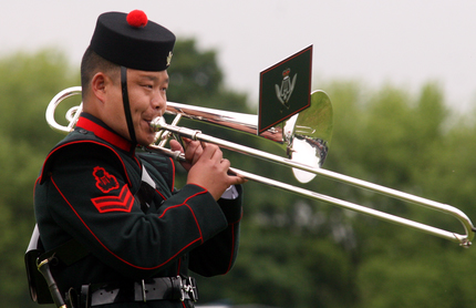 Image of Gurkha playing Trombone