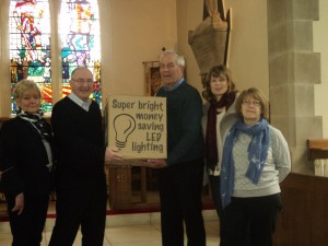 Photo of inauguration event . Pictured are ( L to R): Judith Rogers and Michael Holmes (Church Wardens), Robin Taylor, Kate Sadler and Andrea Simpson (Directors of SSCE)