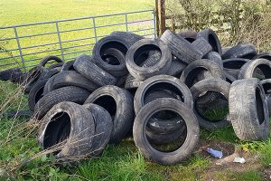 Large pile of tyres at Comberford