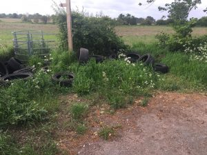 Fly tipped tyres on Tollgate Lane